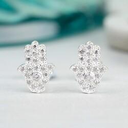 Silver Diamante Hamsa Hand Stud Earrings