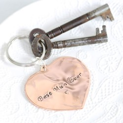 Best Mum Ever Copper Heart Keyring