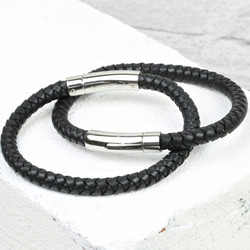 Engraved Men's 'Trigger Happy' Leather Bracelet in Black