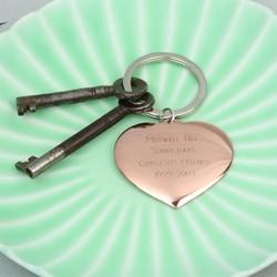 Engraved Heart Memento Keyring