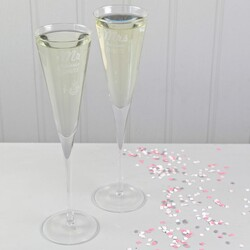Personalised Set of Mr & Mrs Champagne Flute Glasses