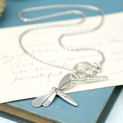 Danon Silver Dragonfly Toggle Necklace