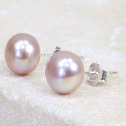 Vintage Pink Sterling Silver Freshwater Pearl Stud Earrings