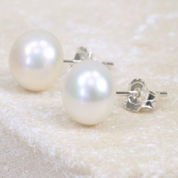 Ivory Sterling Silver Freshwater Pearl Stud Earrings