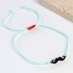 Moustache Cord Friendship Bracelet in Turquoise