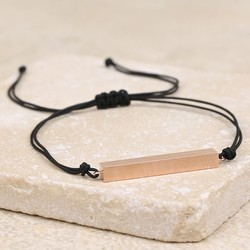 Rose Gold Bar and Cord Bracelet in Black