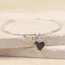 Personalised Silver Diamanté Bangle with Name