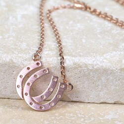 Personalised Double Horseshoe Necklace in Rose Gold