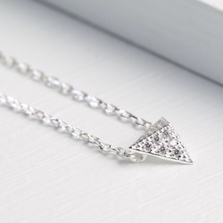 Silver Miniature Diamanté Pyramid Necklace
