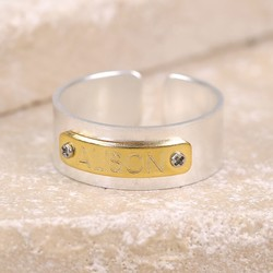 Personalised Chunky Contrasting ID Band Ring in Silver