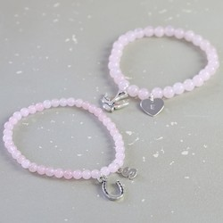 Personalised Rose Quartz Bead Stretch Bracelet in Silver
