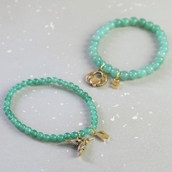 Personalised Aventurine Bead Stretch Bracelet in Gold