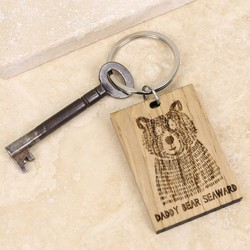 Personalised Daddy Bear Wooden Keyring