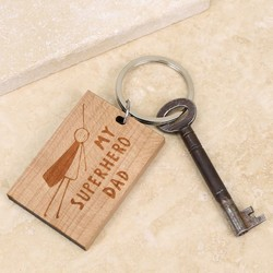 Personalised Superhero Wooden Keyring