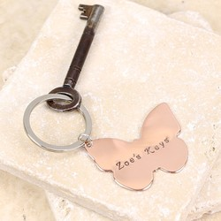 Personalised Copper Butterfly Keyring