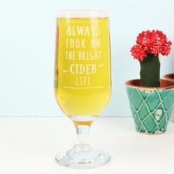 Engraved 'Bright Cider Life' Cider Glass