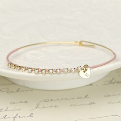 Delicate Gold Pearl Bangle in Pink