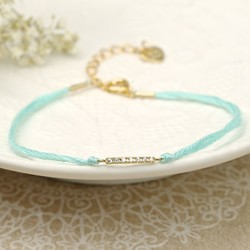 Dainty Cord and Diamanté Bracelet in Mint