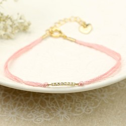Dainty Cord and Diamanté Bracelet in Pink
