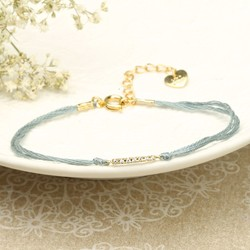 Dainty Cord and Diamanté Bracelet in Grey