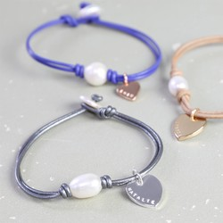 Personalised Heart Knot and Pearl Leather Bracelet