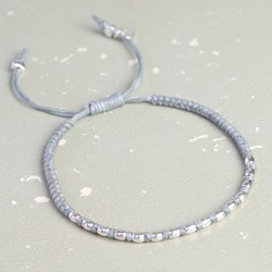 Waxed Cord Friendship Bracelet in Grey & Silver