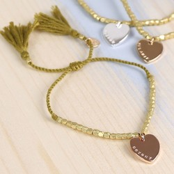 Personalised Gold Mixed Metal Bead Bracelet with Heart Charm
