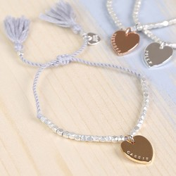 Personalised Silver Bead Bracelet with Heart Charm