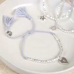 Personalised Silver Faceted Bead Bracelet with Initial