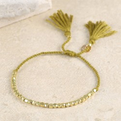 Delicate Matt Gold Faceted Bead Bracelet in Mustard
