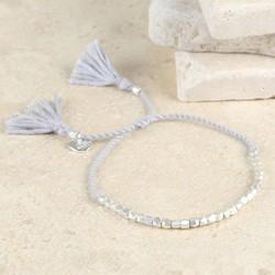 Delicate Matt Silver Faceted Bead Bracelet in Grey