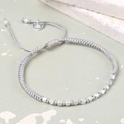 Matt Silver Faceted Bead & Knot Bracelet in Grey