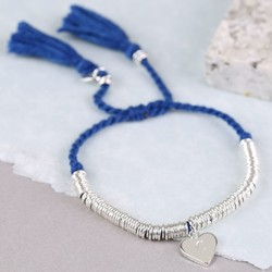 Edie Bracelet with Initial Stamped Heart Charm in Blue