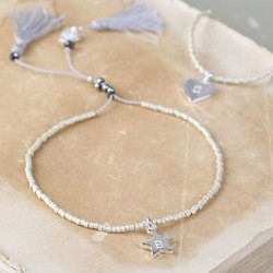 Personalised Silver Seed Bead and Tassel Bracelet with Initial
