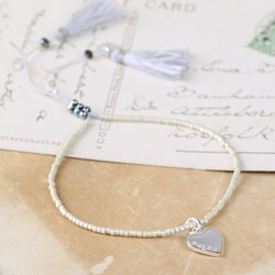 Personalised Silver Seed Bead and Tassel Bracelet with Name