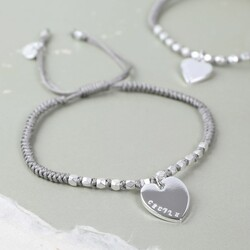Personalised Matt Silver Faceted Bead & Knot Bracelet