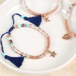Rose Gold Boho Tassel Bracelet with Initial