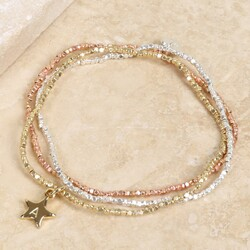 Personalised Mixed Metal Dainty Cube Bead Bracelet Set