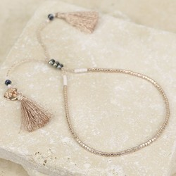 Seed Bead and Tassel Bracelet in Champagne and Rose Gold