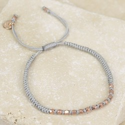 Matt Rose Gold Faceted Bead & Knot Bracelet in Grey