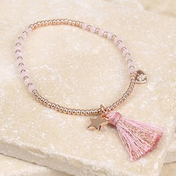 Tassel Star Friendship Bracelet in Pink