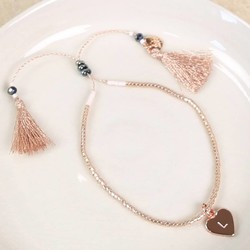 Personalised Rose Gold Seed Bead and Tassel Bracelet with Initial