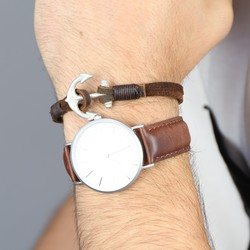 Men's Brown Leather Strand Bracelet with Antiqued Anchor Clasp