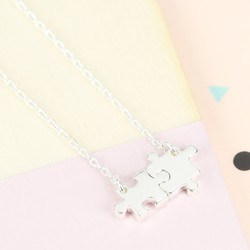 Silver Puzzle Pieces Necklace
