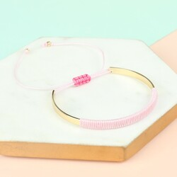 Children's Pink & Gold Curved Bangle
