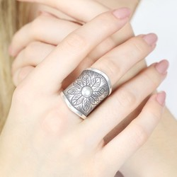 Wide Sterling Silver Flower Ring