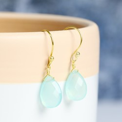 Aqua Chalcedony Gemstone Drop Earrings