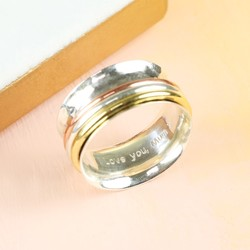 Personalised Mixed Metal & Sterling Silver Hammered Effect Spinning Ring