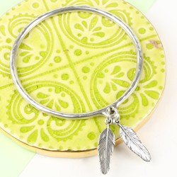 Danon Silver Double Feather Charm Bangle