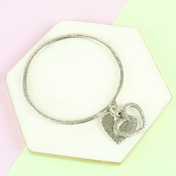 Danon Silver Double Heart Charm Bangle